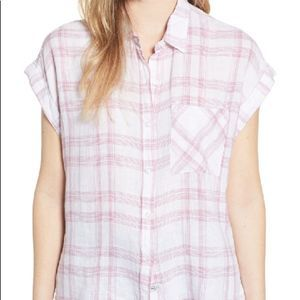 Rails Whitney Striped White Rose Button Up Top M